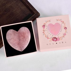 Jade Guasha with Gift Box Natural Rose Quartz Heart Scraper