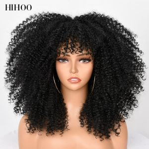Hair Afro Kinky Curly Wig With Bangs